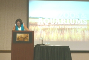 Miriam presenting at the 2013 ZACC conference in DesMoines Iowa